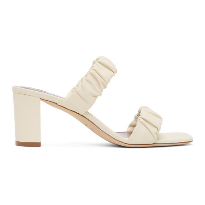 Staud STAUD BEIGE NAPPA FRANKIE RUCHED HEELED SANDALS