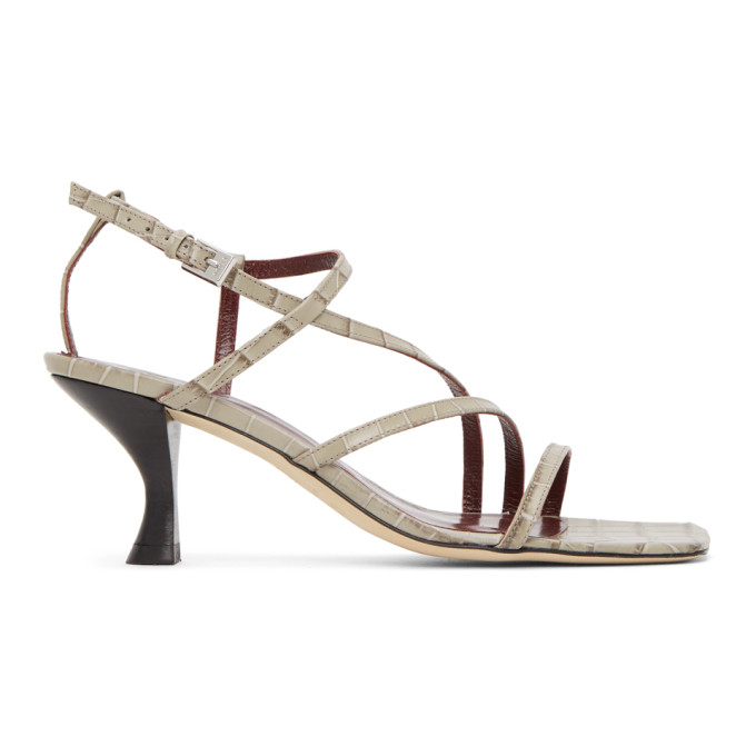 Staud STAUD GREY CROC GITA HEELED SANDALS