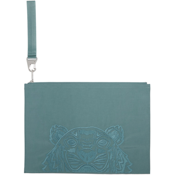 Kenzo Blue Large Kampus Canvas Pouch In 62 Glacier