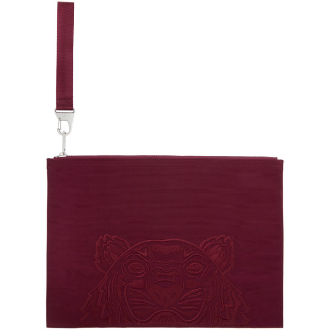 Kenzo Burgundy Large Kampus Canvas Pouch In 25 Magenta