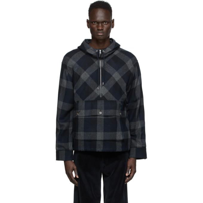 Kenzo Kenzo Navy Wool Zip-Up Anorak Jacket
