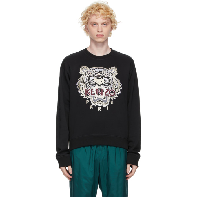 Kenzo Men's Varsity Tiger Crewneck Sweatshirt In 99 Black