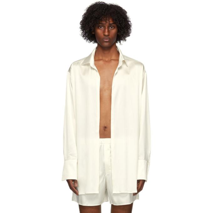 Ludovic De Saint Sernin Off-white Silk Go To Shirt In Broken Whit