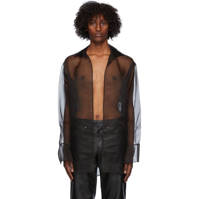 Ludovic De Saint Sernin Black Silk Organza Go To Shirt