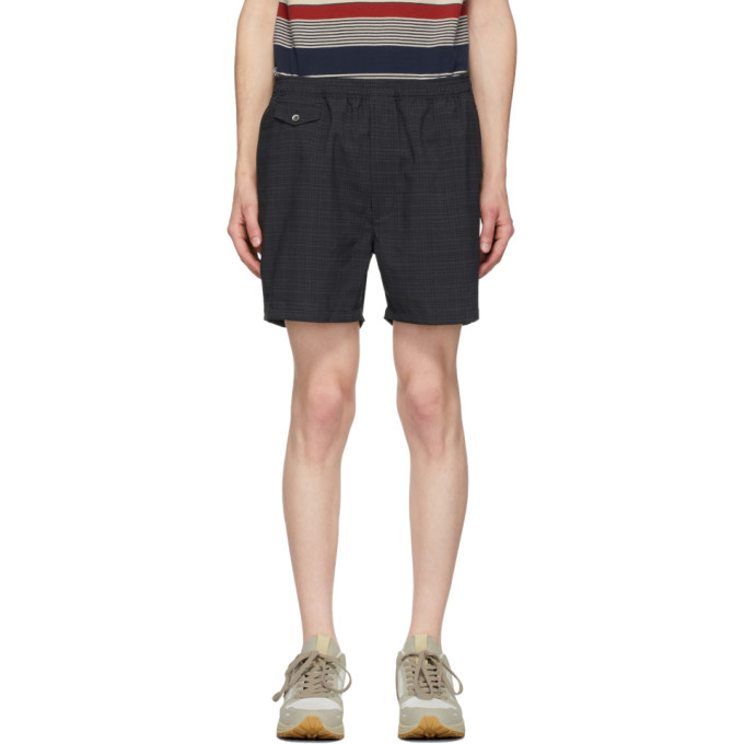 Beams Plus Short a carreaux noir et gris Shadow