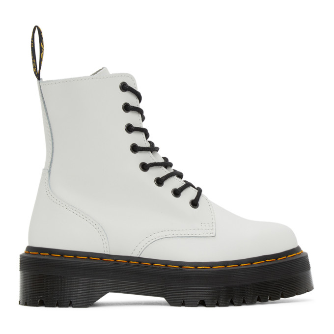 all white platform doc martens