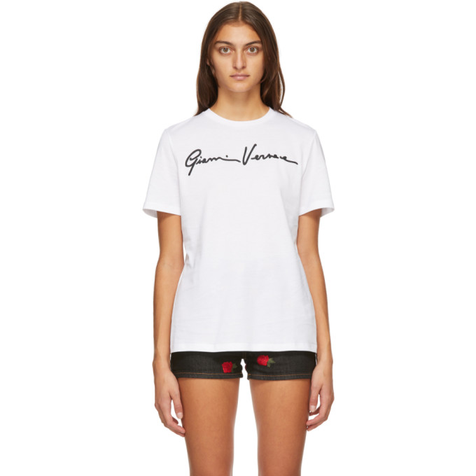 Versace VERSACE WHITE AND BLACK SIGNATURE LOGO T-SHIRT