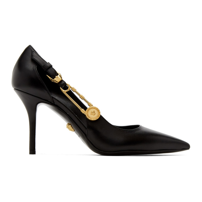 Versace VERSACE BLACK MEDUSA SAFETY PIN HEELS