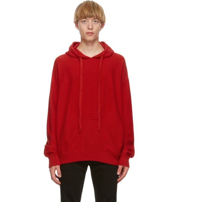 Versace VERSACE RED CASHMERE MEDUSA HOODIE