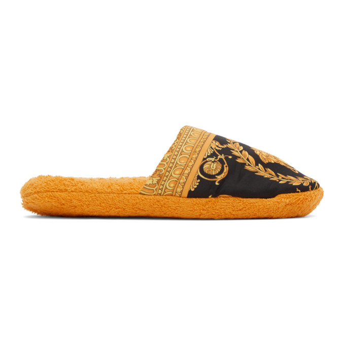 Versace Yellow Baroque Slippers In Z4004 Gold
