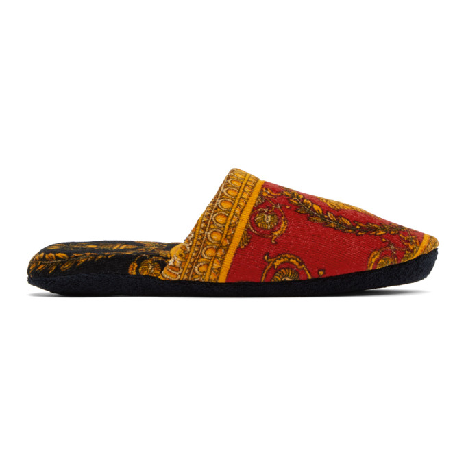 Versace Red Baroque Slippers In Z7501 Red