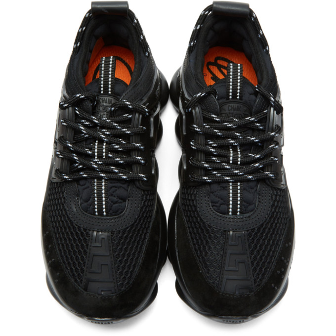VERSACE Suedes VERSACE BLACK CHAIN REACTION SNEAKERS