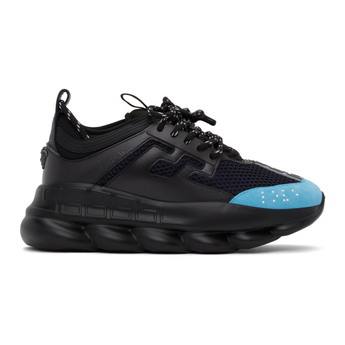 Versace VERSACE BLACK AND BLUE CHAIN REACTION SNEAKERS