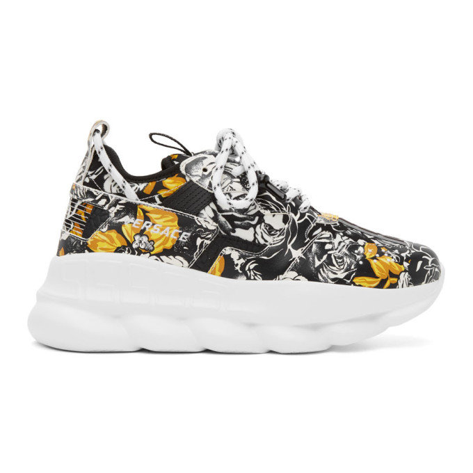 Versace Leathers VERSACE BLACK AND GOLD BAROCCO CHAIN REACTION SNEAKERS