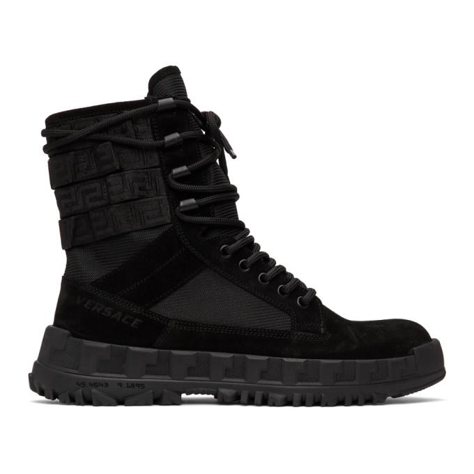 Versace VERSACE BLACK HIGH SNEAKER BOOTS