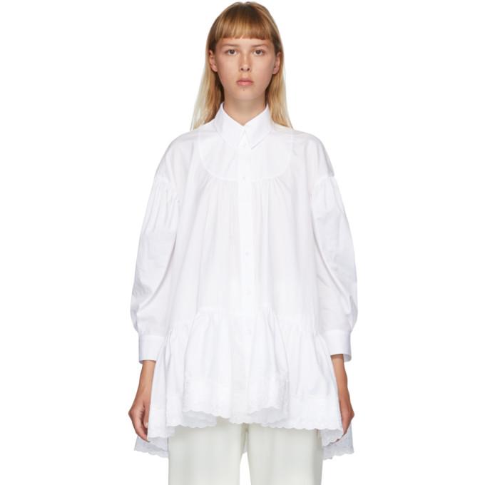 Simone Rocha Chemise a fronces blanche