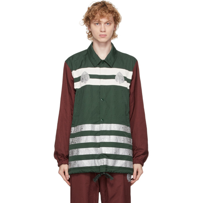 Undercover Undercover Green and Burgundy Graphic Pattern Jacket