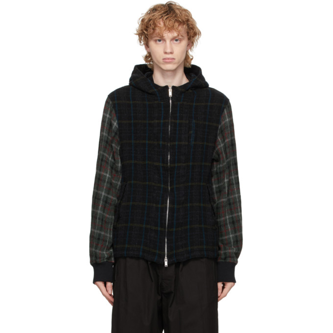 Undercover Undercover Black Wool Checkered Hood Jacket