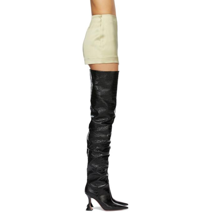 Amina Muaddi Black Croc Olivia Boots