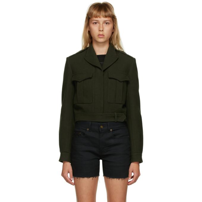 Saint Laurent Saint Laurent Green Cropped Military Jacket