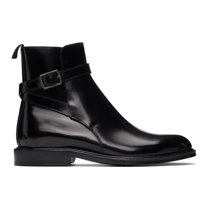 Saint Laurent SAINT LAURENT BLACK ARMY JODHPUR BOOTS