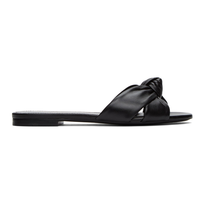 Saint Laurent Power Knotted Leather Slides In Black