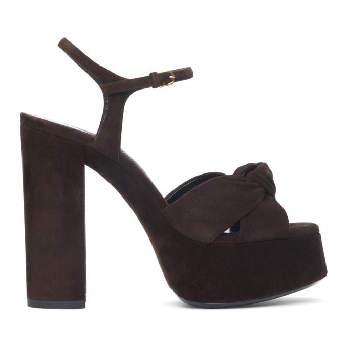 Saint Laurent Brown Suede Bianca 85 Heeled Sandals  - buy with discount