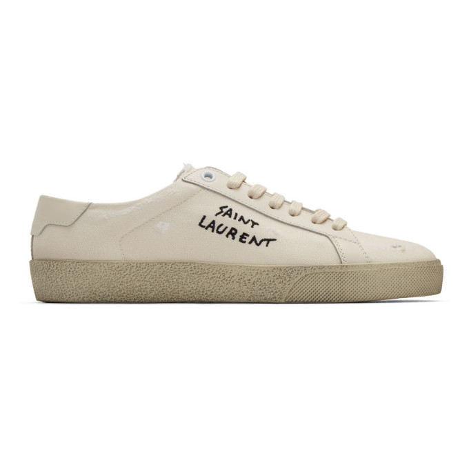 saint laurent white leather sneakers