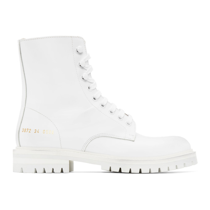 Common Projects White Lug Sole Combat Boots