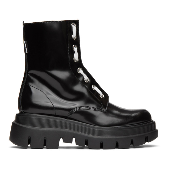 MSGM Black Patent Ankle Boots