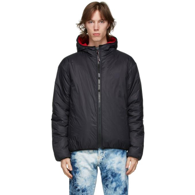 MSGM MSGM Reversible Black and Red Nylon Jacket