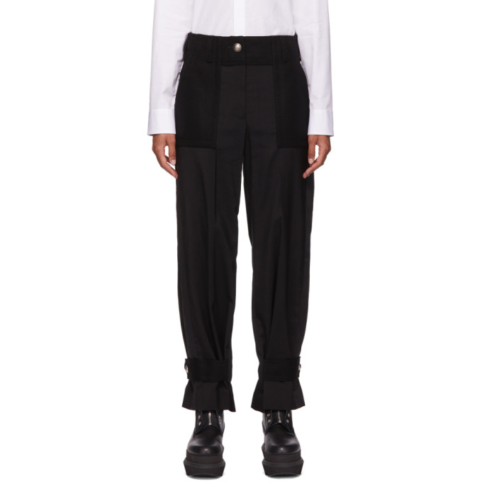 Sacai SACAI BLACK WOOL ANKLE STRAP SUITING TROUSERS