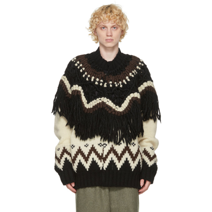 Sacai Knits SACAI BEIGE AND BLACK NORDIC KNIT ZIP-UP SWEATER