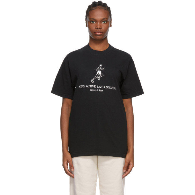 SPORTY AND RICH SPORTY AND RICH BLACK LIVE LONGER T-SHIRT