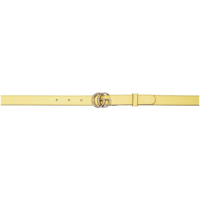 Gucci Ceinture jaune Skinny GG Marmont