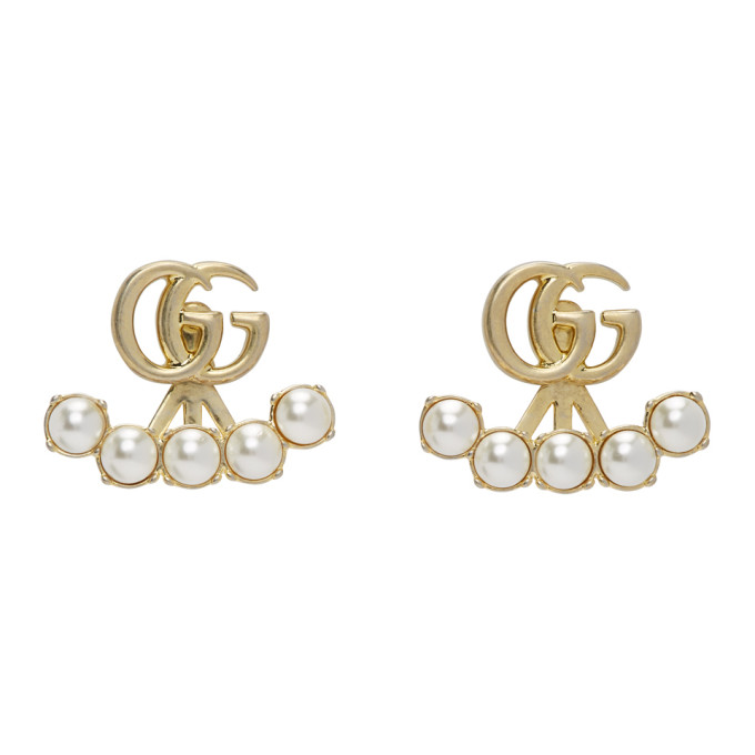 Gucci Earrings GUCCI GOLD DOUBLE G PEARL MARMONT EARRINGS