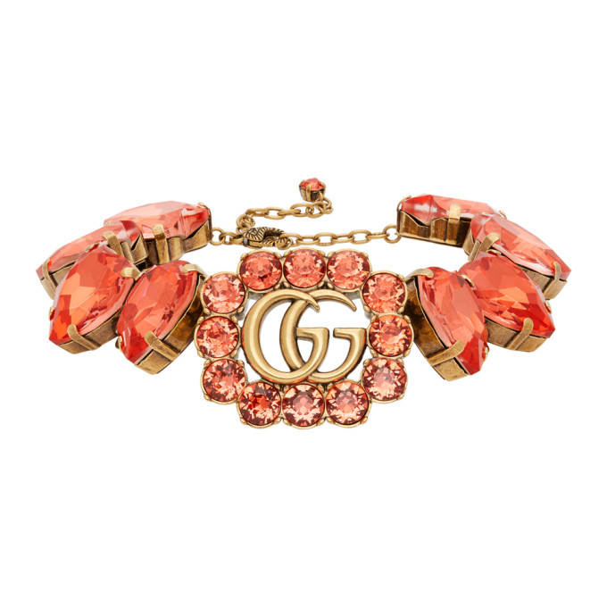 Gucci 金色 and 红色 GG Marmont Heart 项链