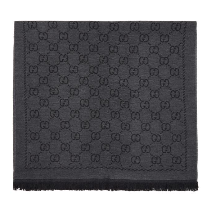 Gucci Foulard en laine gris Jacquard GG