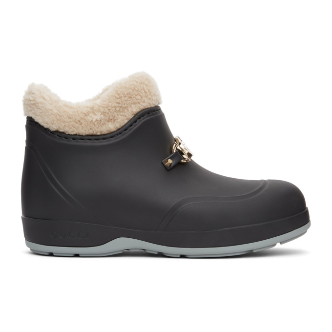 Gucci Horsebit Rubber Ankle Boots In Black In 1068 Black