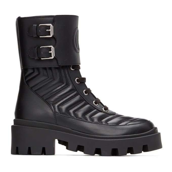 Gucci GUCCI BLACK INTERLOCKING G ANKLE BOOTS