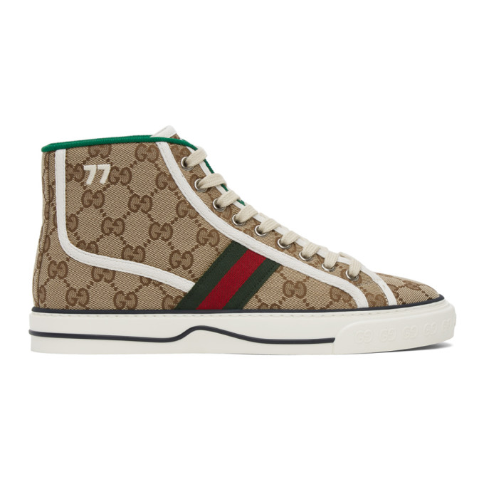 Gucci Brown Tennis 1977 High Top Canvas Sneakers In 9765 Beige