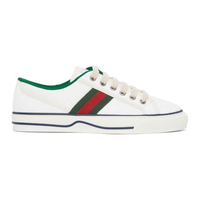 Gucci Tennis 1997 Webbing-trimmed Logo-embroidered Canvas Sneakers In 9085 White