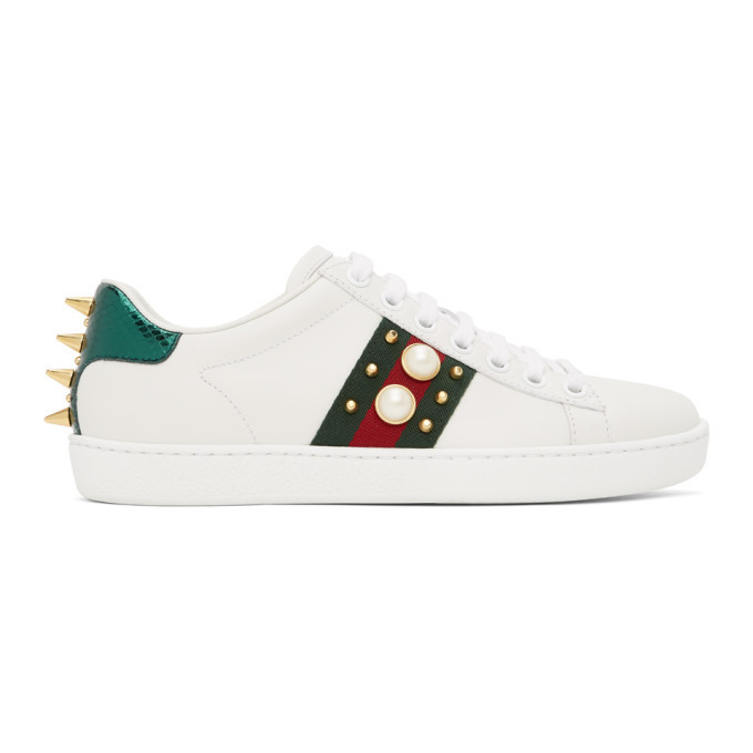 Gucci GUCCI WHITE PEARL STUD NEW ACE SNEAKERS