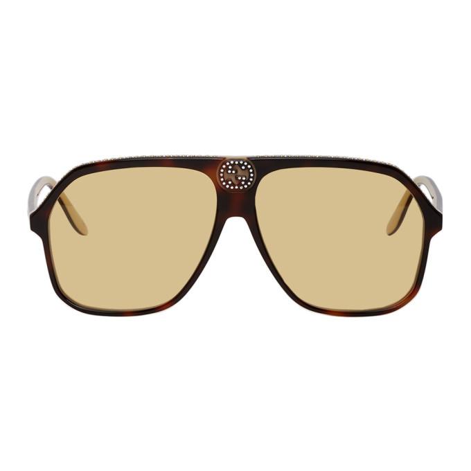 Gucci 玳瑁色 GG0734S 水钻太阳镜