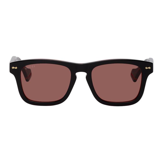 Gucci 黑色 and 红色 GG0735S 太阳镜