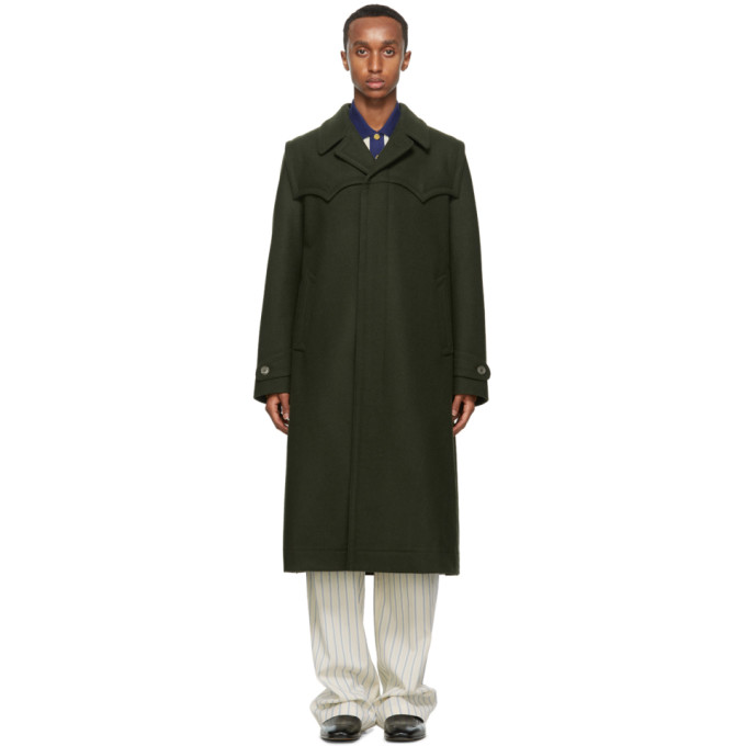 Gucci GUCCI GREEN WOOL TAILORED LODEN COAT