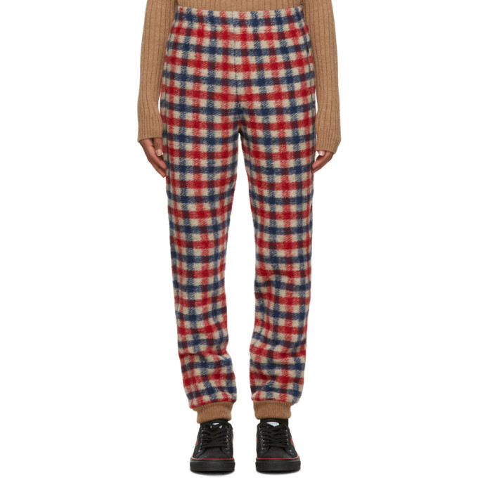 Gucci Red and Blue Wool Check Lounge Pants  - buy with discount