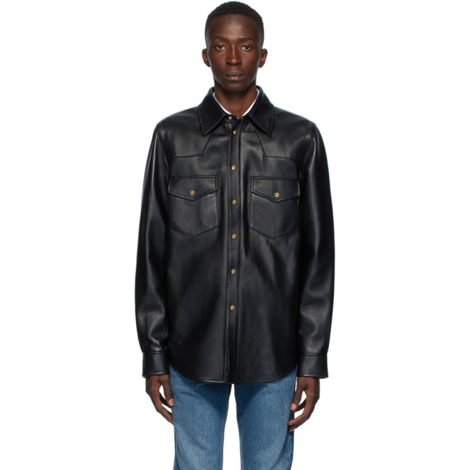 Gucci Gucci Black Leather Logo Shirt Jacket