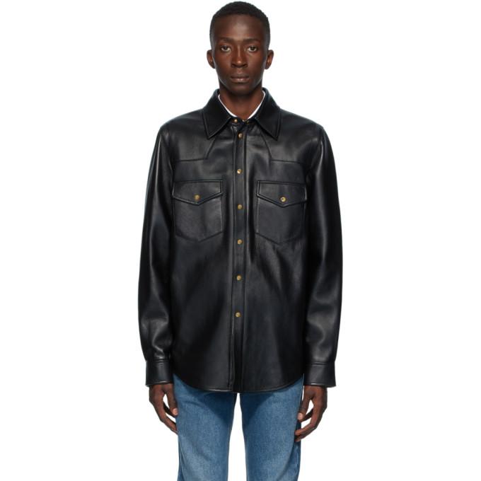 Gucci ブラック レザー ロゴ シャツ ジャケット