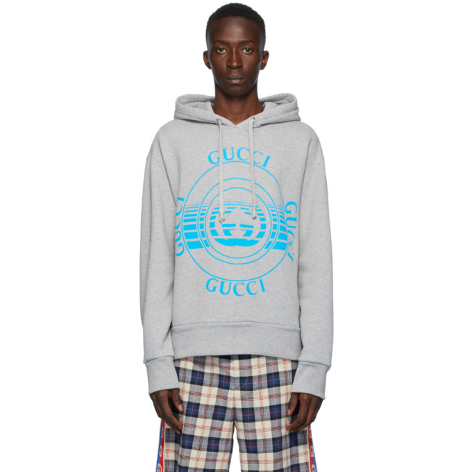 Gucci GUCCI GREY LOGO DISK PRINT OVERSIZED HOODIE